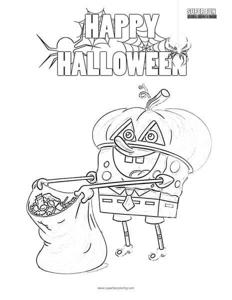 spongebob halloween coloring page super fun coloring