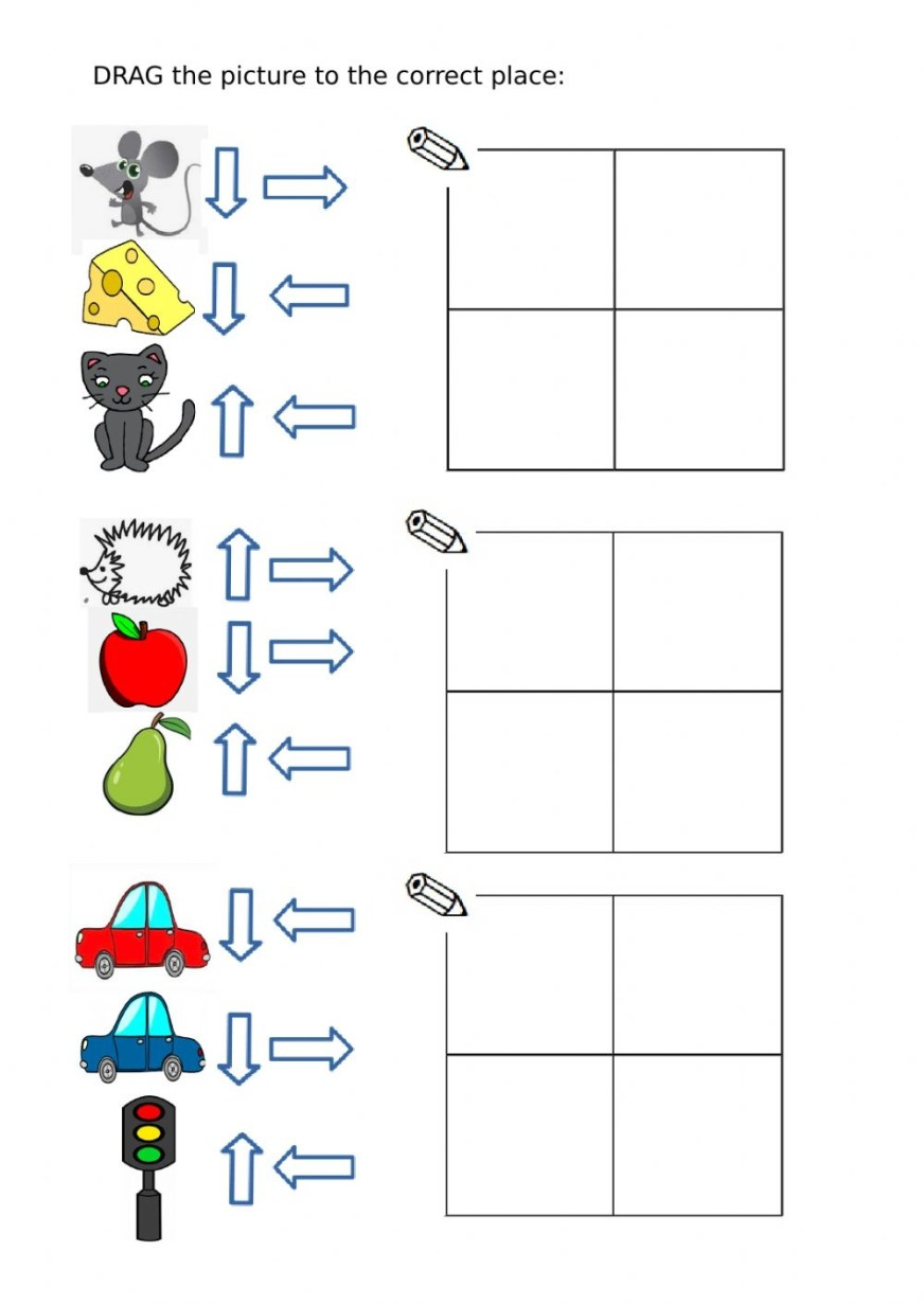 up down right left directions worksheet