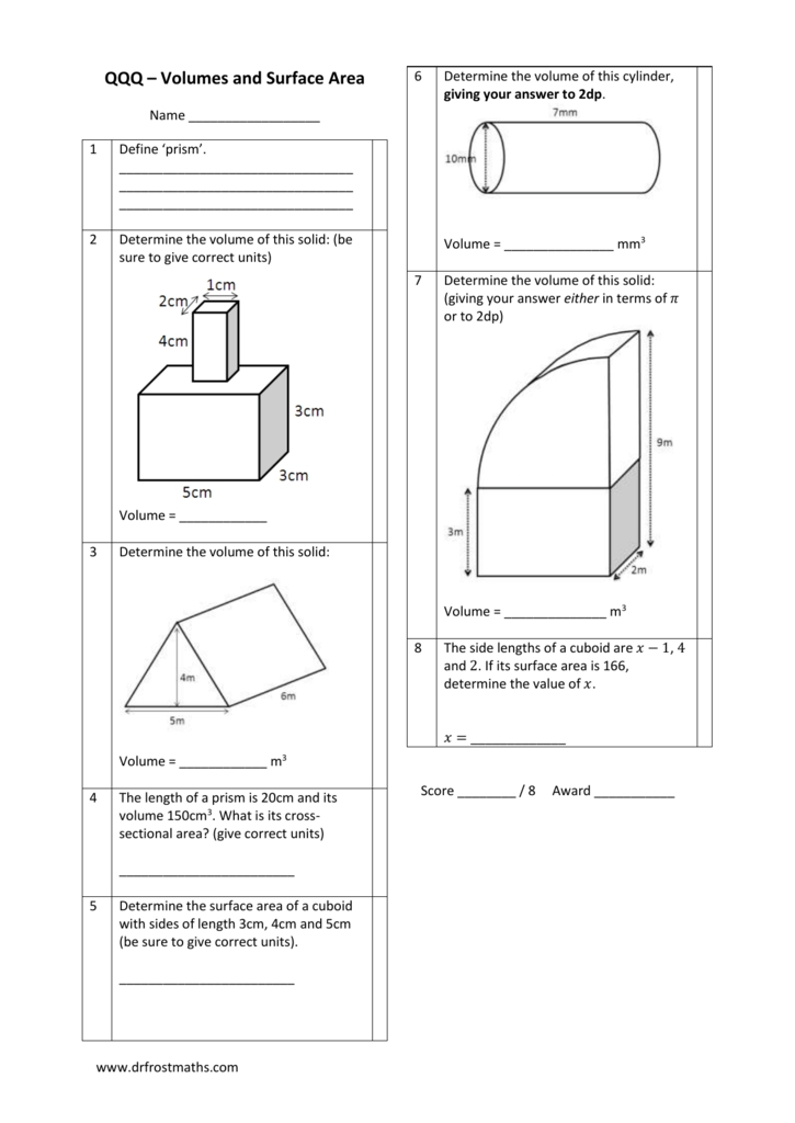 worksheet volumes and surface area test qqq