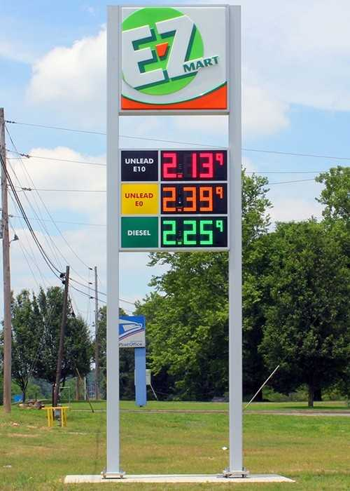 E-Z Mart gas price sign with 3D formed plastic face.