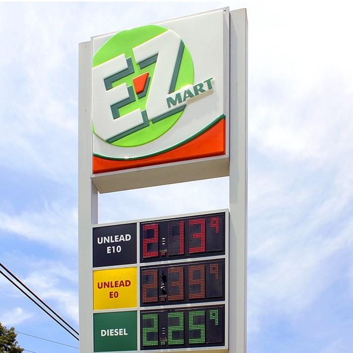 E-Z Mart price sign with 3D formed plastic face.