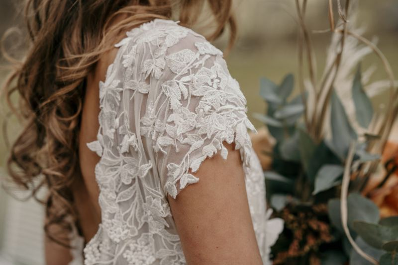 A close up of a white bridal gown's sleeve