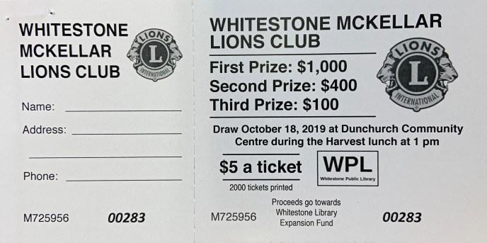 Lions Club Raffle Ticket
