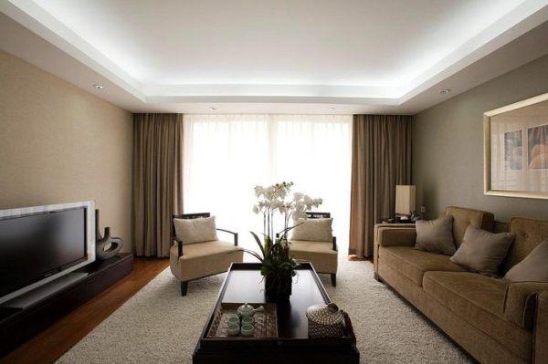 Потолок для гостиной из гипсокартона и натяжных потолков фото