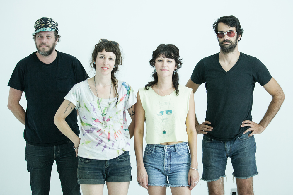 Members of San Francisco indie rock group, Sarah Bethe Nelson pose in front of the White Wall in Sioux Falls
