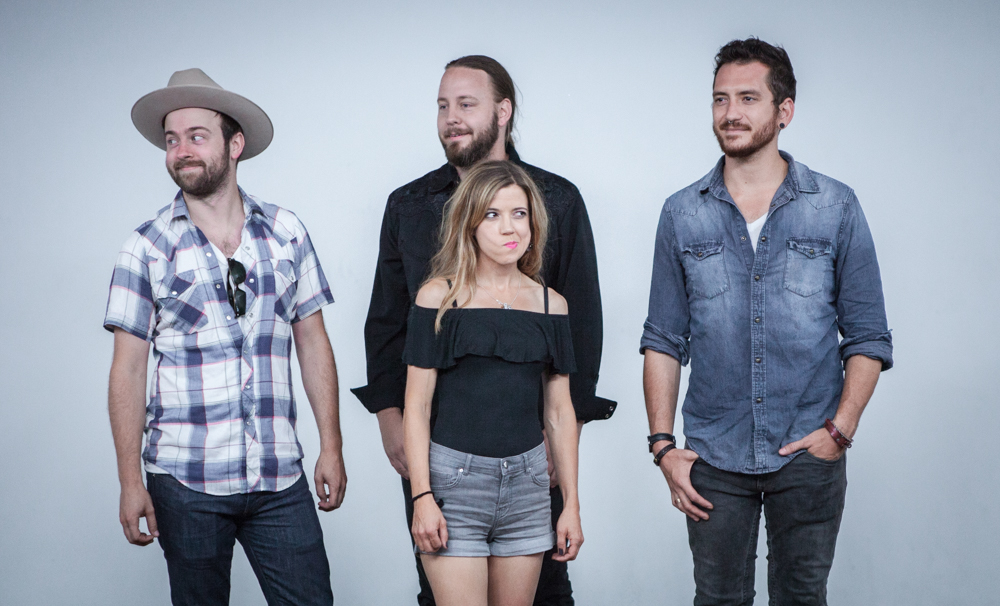 Sarah Morris & Her Sometimes Guys, from Minneapolis, Minnesota, pose at The White Wall Sessions in Sioux Falls