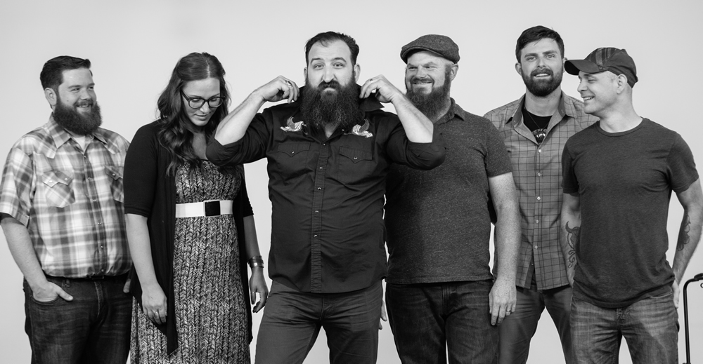 Sioux Falls' Burlap Wolf King as a full band, posing for the White Wall Sessions.