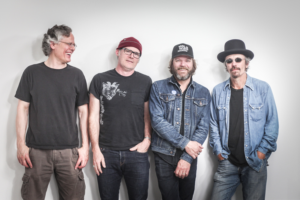 Members of St Louis, MO's Bottle Rockets pose for the The White Wall Sessions in Sioux Falls.