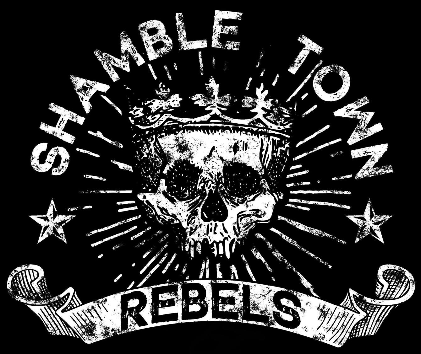 Logo showing distressed lettering and a skull of Shamble Town Rebels