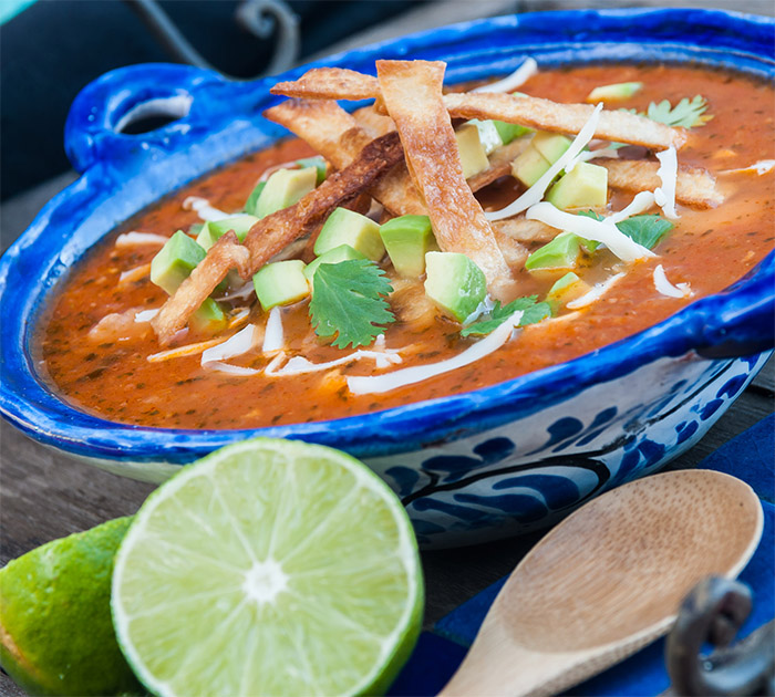 Chicken Tortilla Soup with Avocado and Lime