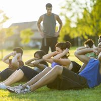 Outdoor fitness and bootcamp class