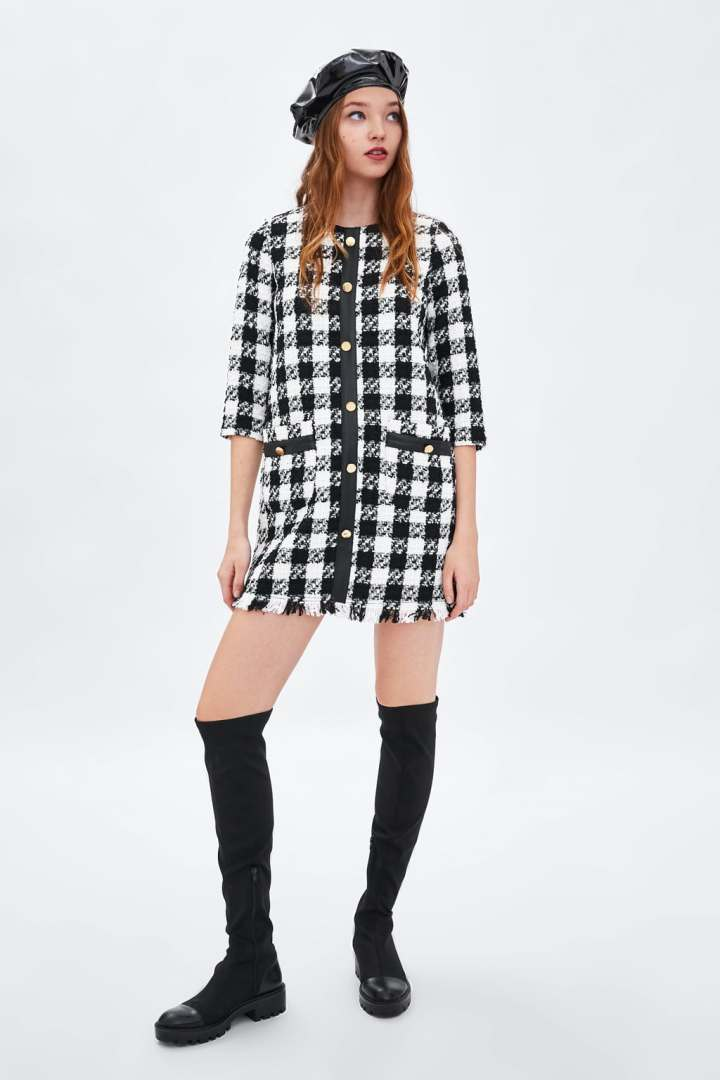 ZARA - TWEED DRESS WITH STRIPE