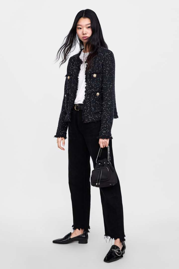 ZARA - TWEED JACKET WITH SEQUINS