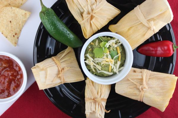 Chicken and Sweet Corn Tamales with Green Chili Avocado Salsa
