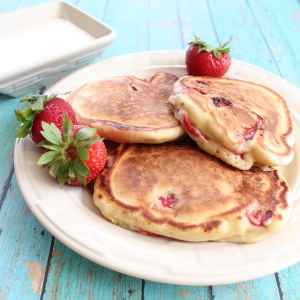 Strawberry Pancakes with Cream Cheese Syrup