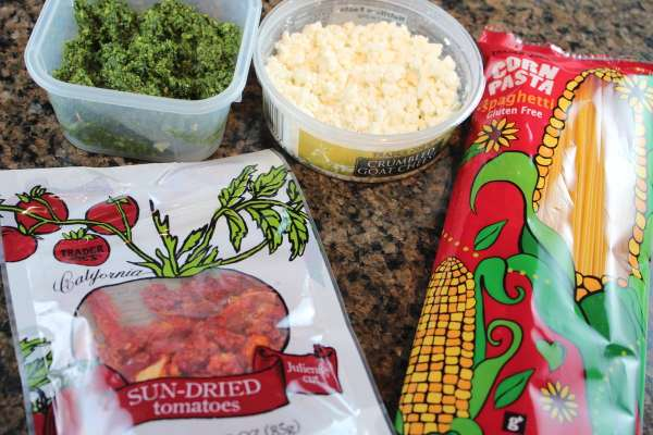Kale Pesto, Sun Dried Tomato and Goat Cheese Spaghetti