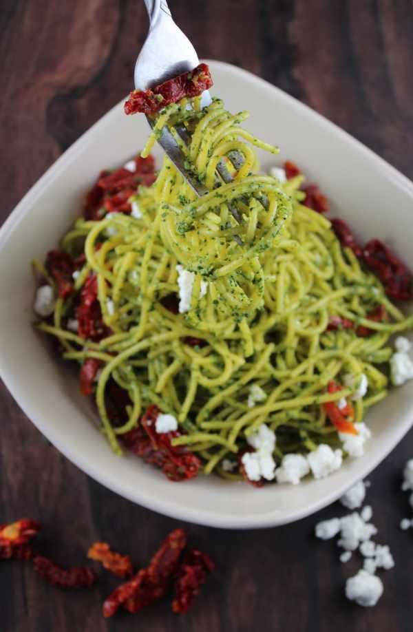 Kale Pesto Spaghetti with Goat Cheese