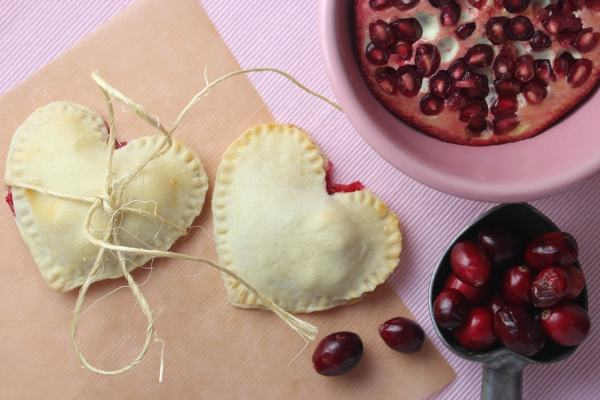 Valentines Day Heart Shaped Cranberry Pomegranate Mini Pies
