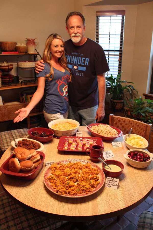 table full of food, father and daughter in the kitchen, oklahoma kitchen