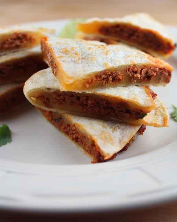 soy chorizo quesadillas, chorizo cheddar quesadillas, vegetarian quesadillas, gluten free quesadillas, soy chorizo cheddar quesadilla, vegetarian soy chorizo quesadillas, recipes