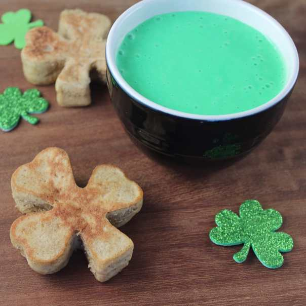 Shamrock Shaped Pancakes with Green Cream Cheese Syrup