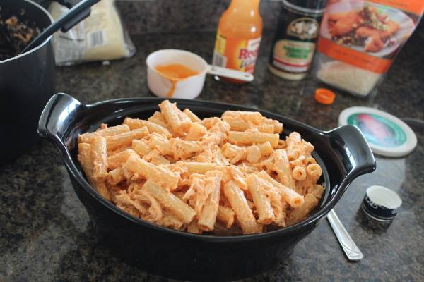 Buffalo Chicken Four Cheese Pasta Bake