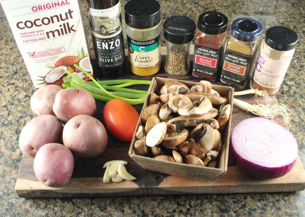 Curry Potato and Mushroom Soup Ingredients
