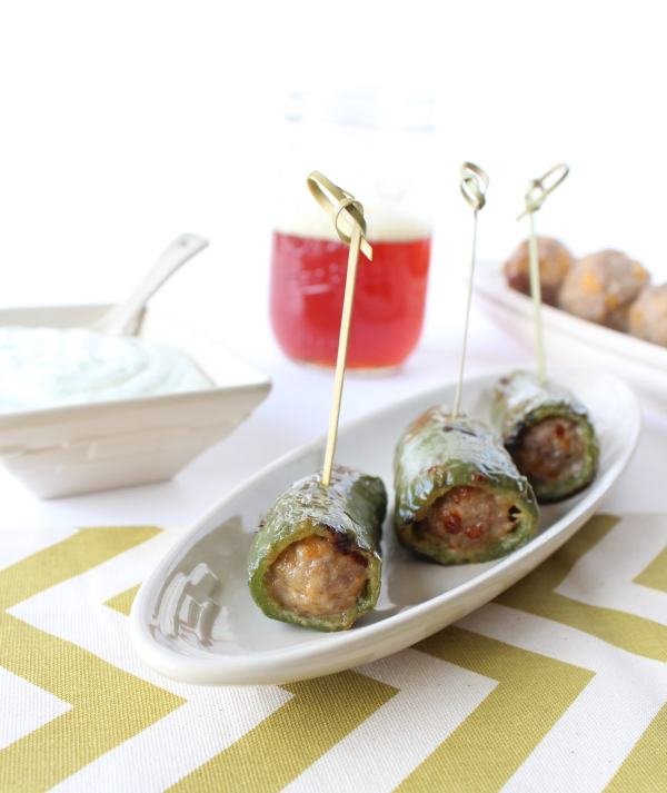 Beer Bratwurst Stuffed Jalapeño Peppers