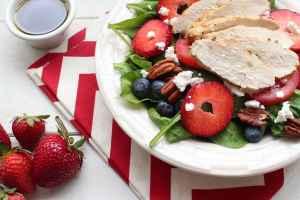 Grilled Chicken Spinach Strawberry Ricotta Salad