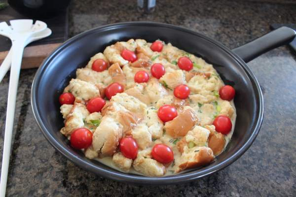 Tomato Herb Cheddar Bread Pudding Recipe