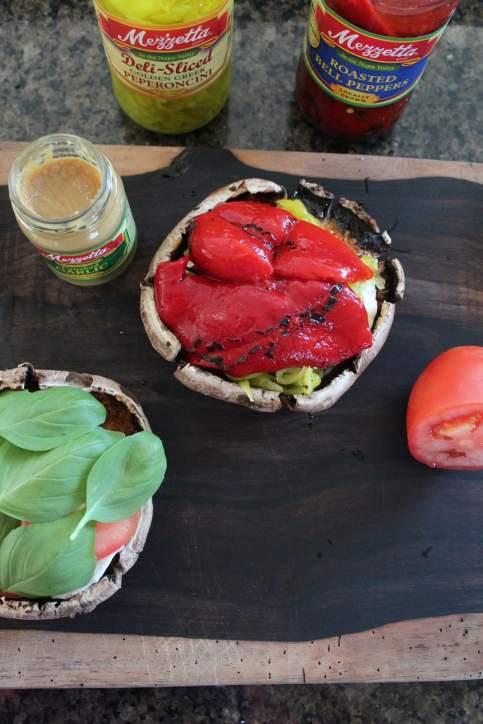 Roasted Red Pepper Caprese Portobello Sandwich