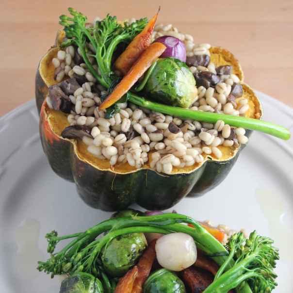 Vegetarian Barley Stuffed Squash