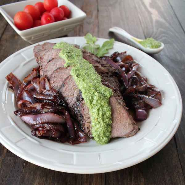 Tri Tip with Arugula Blue Cheese Pesto