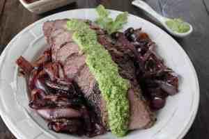 Grilled Tri Tip Steak with Arugula Pesto