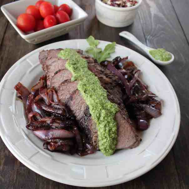 Grilled Tri Tip with Arugula Walnut Blue Cheese Pesto