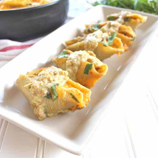 Mexican Stuffed Shells with Green Chili Sauce