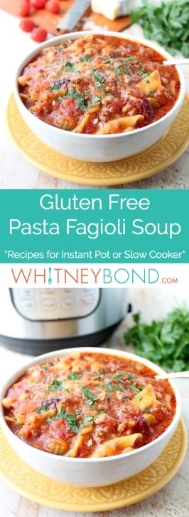 This recipe for Pasta Fagioli soup is a delicious, gluten free copycat of the Olive Garden favorite, easily made in a slow cooker or Instant Pot!