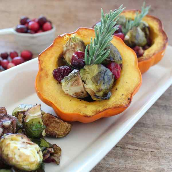 Cranberry Brussels Sprouts Stuffed Acorn Squash