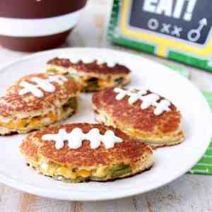 Football Shaped Jalapeño Popper Grilled Cheese Sandwich