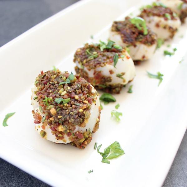 Pistachio Bacon Crusted Scallops