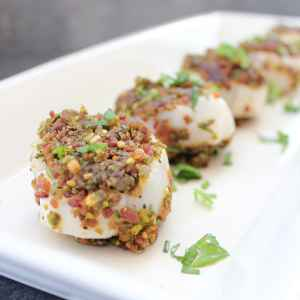 Bacon Pistachio Crusted Scallops