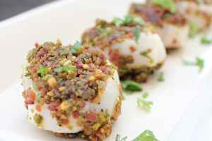 Pistachio Bacon Crusted Scallops