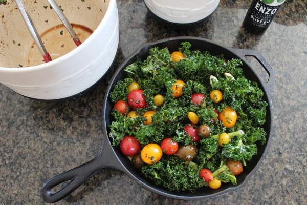 Kale and Tomato Polenta Skillet