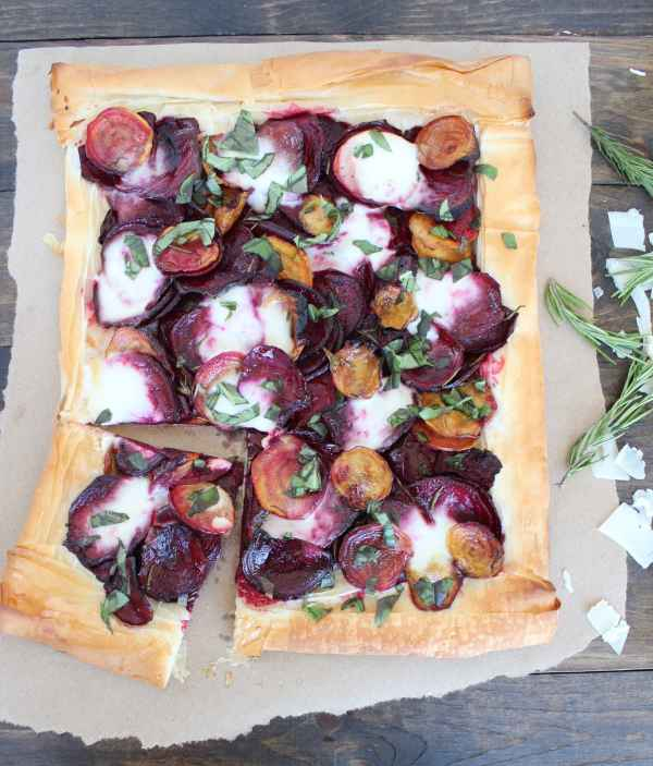 Beet and Burrata Cheese Tart