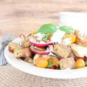 Gluten Free Basil Artichoke Panzanella Salad