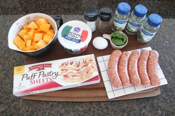 Butternut Squash Sausage Strudel Ingredients