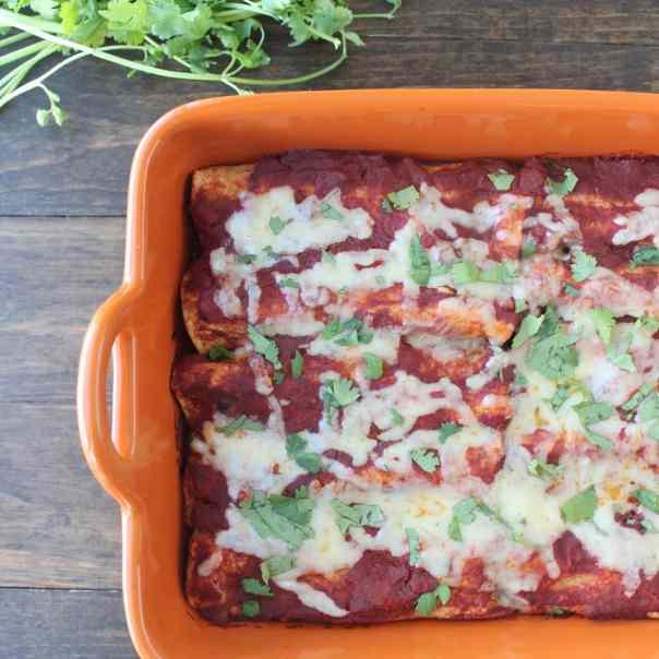 Mushroom Squash Vegetarian Enchiladas