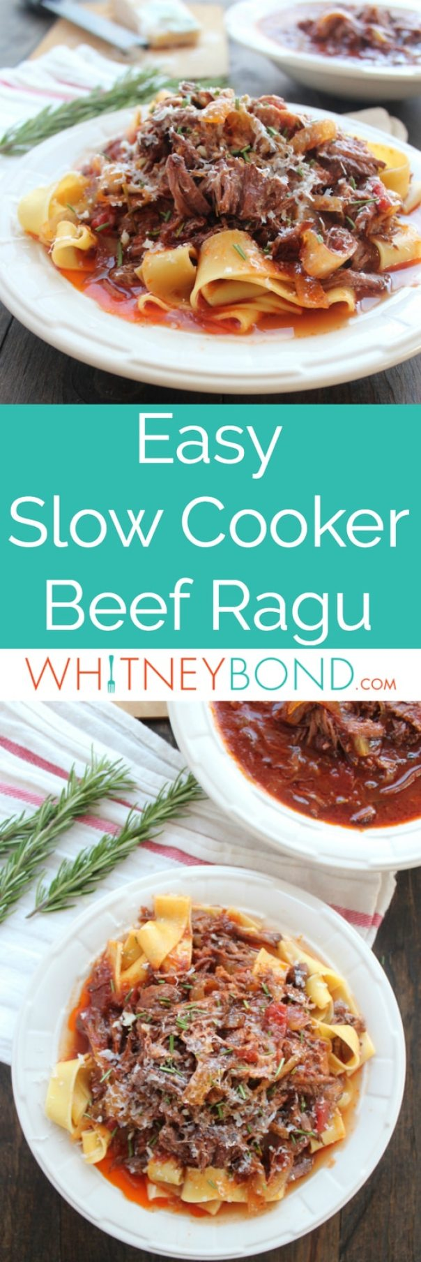 This slow cooked gluten free beef ragu recipe has a ton of flavor with only a few, simple ingredients, perfect served with pasta or polenta!