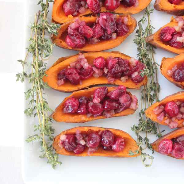Roasted Cranberry Pancetta Sweet Potato Skins