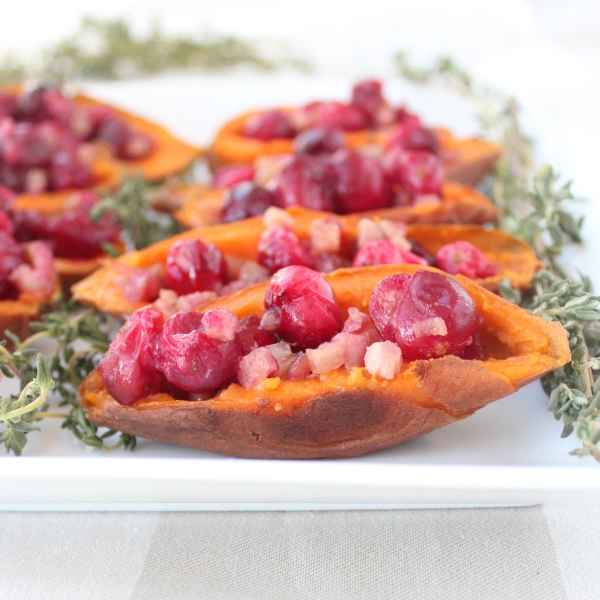 Cranberry Pancetta Sweet Potato Skins